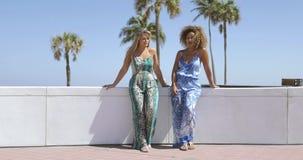 Meninas na moda que refrigeram na frente mar?tima filme