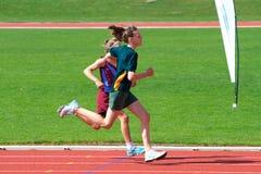 Meninas na raça dos esportes Foto de Stock Royalty Free