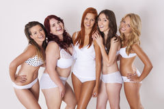 Meninas naturais felizes Fotografia de Stock Royalty Free