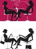 Meninas no café ilustração royalty free