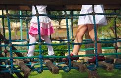 Meninas no campo de jogos Fotografia de Stock