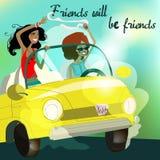 Meninas no carro Foto de Stock Royalty Free