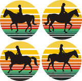 Meninas no cavalo - fundo Imagens de Stock Royalty Free