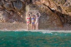 Meninas no mar Foto de Stock Royalty Free