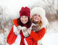Meninas no parque do inverno Imagem de Stock