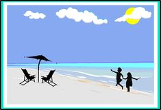 Meninas no salto da praia Imagens de Stock