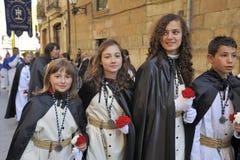 Meninas no Semana Santa Holy Week fotografia de stock royalty free