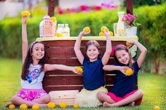 Meninas no suporte de limonada no jardim Imagens de Stock Royalty Free