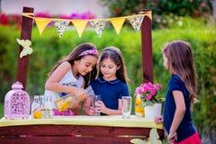 Meninas no suporte de limonada no jardim Foto de Stock