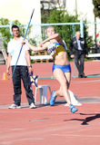 Meninas no throw de javelin Imagens de Stock