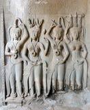 Meninas no todo o templo de Bayon Foto de Stock Royalty Free
