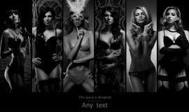 Meninas novas e 'sexy' no roupa interior erótico Fotos de Stock