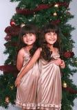 Meninas pela árvore de Natal Imagem de Stock
