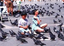 Meninas que alimentam pombos, Veneza imagem de stock royalty free