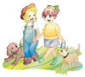 Meninas que andam com os cães no parque Imagem de Stock Royalty Free