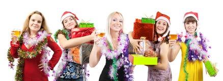 Meninas que comemoram o ano novo Fotografia de Stock Royalty Free