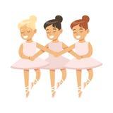 Meninas que dançam o bailado do lago swans na classe de dança clássica, dançarino profissional futuro da bailarina Fotografia de Stock