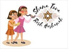 Meninas que fundem o chifre pelo ano novo judaico, feriado do Shofar de Rosh Hashanah, ilustração do vetor da religião do judaism ilustração stock