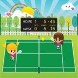 Meninas que jogam o tênis Fotos de Stock Royalty Free