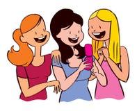 Meninas que lêem uma mensagem de texto ilustração do vetor