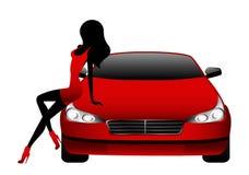 Meninas que sentam-se pelo carro Imagens de Stock