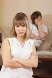 Meninas que têm o conflito em casa Imagens de Stock