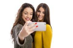 Meninas que tomam o selfie imagem de stock
