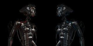 Meninas robóticos de aço à moda Fotografia de Stock