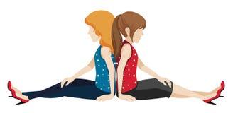 Meninas sem cara que sentam-se de volta à parte traseira Foto de Stock Royalty Free