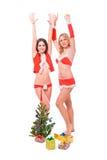 Meninas 'sexy' do ajudante de Santa Fotografia de Stock Royalty Free
