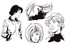 Meninas tristes ajustadas Ilustração conservada em estoque Fotos de Stock Royalty Free
