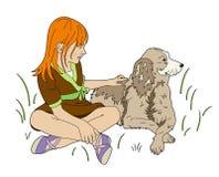 Meninas uma e um cão Fotografia de Stock