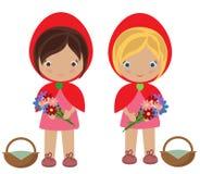 Meninas vermelhas pequenas bonitos da capa ilustração royalty free