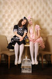 Meninas vestidas como bonecas. imagens de stock royalty free