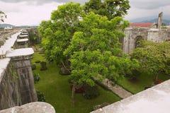 Mening aan de binnenwerf van de Santiago Apostol-kathedraalruïnes in Cartago, Costa Rica stock foto