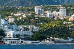 Mening aan de dijk van Yalta van het overzees Royalty-vrije Stock Afbeelding