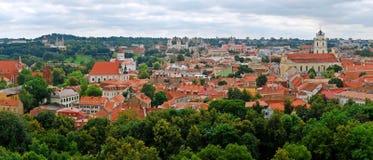 Mening aan de groene oude stad van Vilnius in de zomertijd Royalty-vrije Stock Foto's