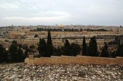 Mening aan de oude stad Jeruzalem en Koepel van de Rots, Israël Royalty-vrije Stock Foto's
