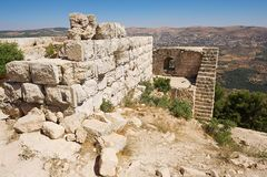Mening aan de ruïnes van de Ajloun-vesting in Ajloun, Jordanië Royalty-vrije Stock Foto