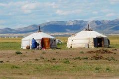 Mening aan de traditionele Mongoolse yurts nomadische die tenten in steppecirca Kharkhorin worden gevestigd, Mongolië royalty-vrije stock foto