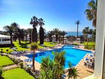 mening aan een zwembad met zonnescherm en palmen Stock Afbeelding