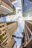 Mening aan historische en moderne wolkenkrabber in Houston van de binnenstad Stock Foto