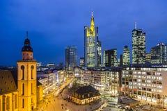 Mening aan horizon van Frankfurt met Hauptwache Royalty-vrije Stock Foto