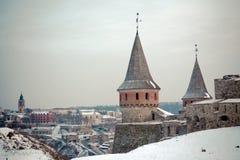Mening aan kasteel en stad Stock Afbeeldingen