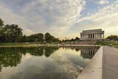 Mening aan Lincoln Memorial bij zonsondergang Het Witte Huis van Washington D C , de V Royalty-vrije Stock Afbeelding