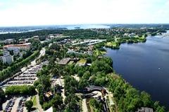 Mening aan stad van Tampere, Finland Stock Foto's