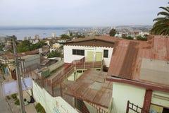 Mening aan Valparaiso-haven van een woonwijk, Valparaiso, Chili stock afbeelding