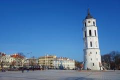 Mening aan Vilnius-stadsstraat - Gedimino-weg, Vilnius-Kathedraal en klokketoren met mensen die tijdens zonnige dag, Litouwen lop royalty-vrije stock fotografie