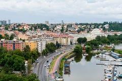 Mening aan Vltava de rivier in Praag Royalty-vrije Stock Foto
