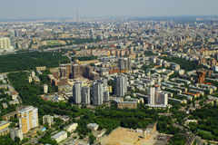 Mening aan woningshuizen van Commercieel van Moskou Internationaal Centrum Stock Foto's
